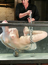 Tiny Boobs, Hot sexy girl is tied, gagged, suspended while suffering through water tortures.