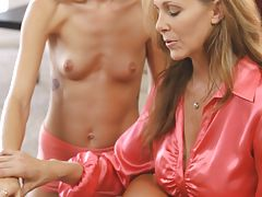 Buxom Julia Ann decides to help her stepson learn how to satisfy the sexual needs of his spinner girlfriend Halle Von