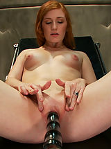 Hard Nipples, Amateur red head smoking hot local girl is machine fucked into oblivion by three custom robots that work her pussy into a creamy mess.