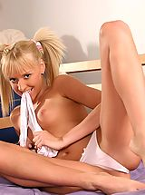 Sapphic Erotica Pics: Slender flexible blonde undresses and dildos bald pussy