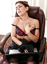 Tiny Boobs, Horny office cougar rubs her boobs in her bra a she watches porn on a laptop
