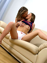 Sapphic Erotica Pics: Horny teen cuties kiss and lap wet pussies to orgasm on sofa