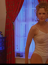 satin panties, Nicole Kidman bares tits, breasts and bush while posing in the mirror