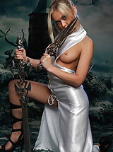 Tiny Boobs, Stunning amazon with swords and without panties