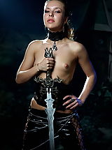 Tiny Tits, Skinny small-breasted warrior posing naked with the huge sword