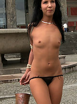 Tiny Boobs, Euro babe gets more than she bargained for when she is tied up, helpless, and exposed on the streets
